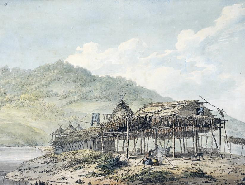 John Webber - Summer Habitations in Kamtchatka.  Pen, wash and watercolour © British Library Board