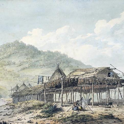 John Webber - Summer Habitations in Kamtchatka.  Pen, wash and watercolour © British Library Board