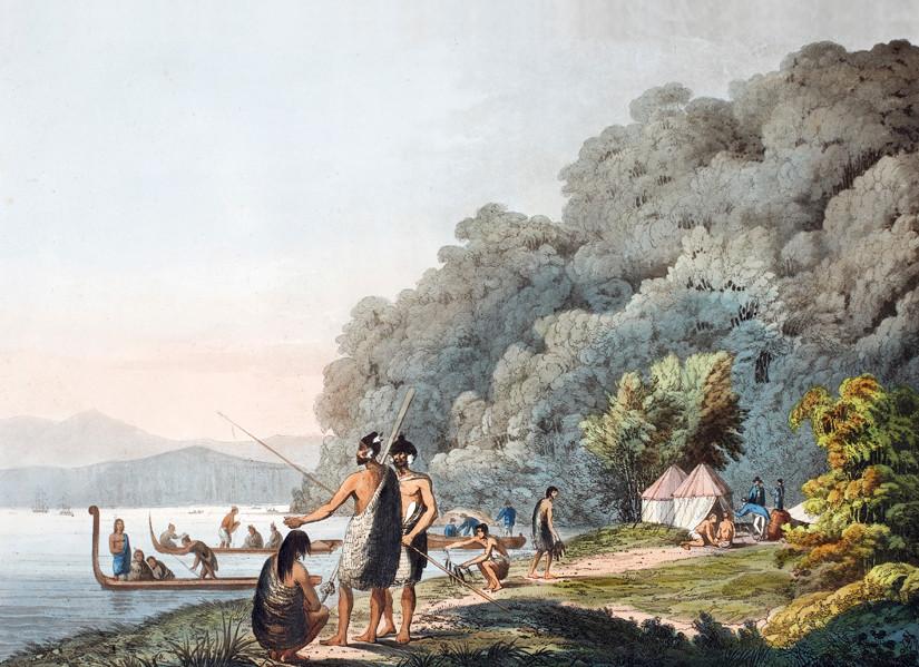 John Webber, Queen Charlotte Sound, New Zealand, showing Maori fishing
