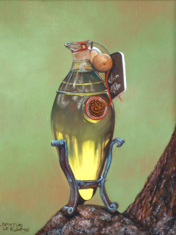 Glazen kruikje met olijfolie