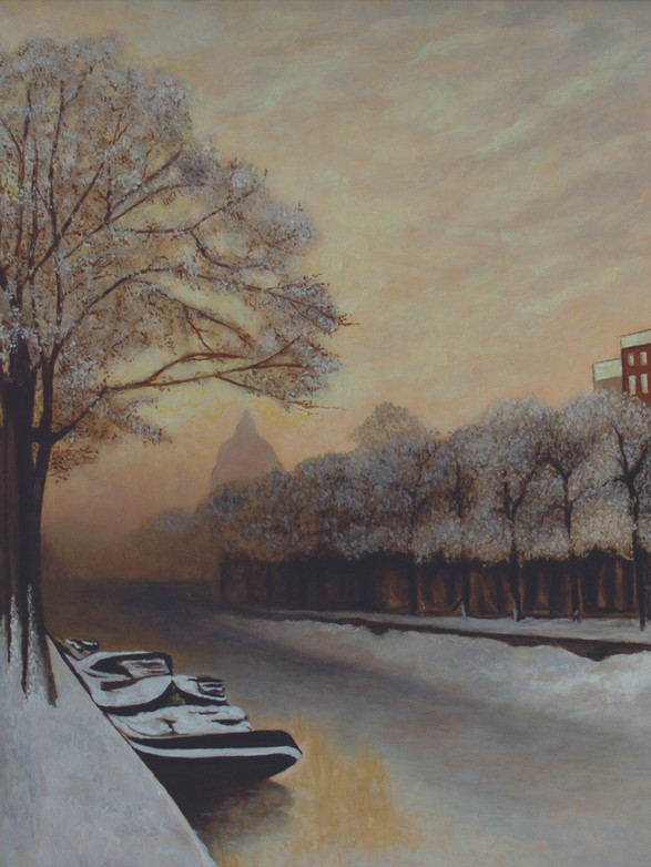 Singel Amsterdam in winterkleed