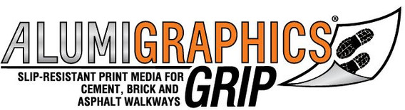 Foil-based media for sidewalk graphics. Logo of Alumigraphics Grip.Turs alphalt into at.