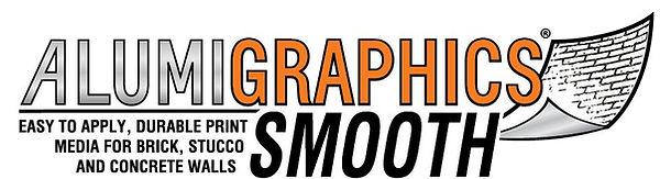 Foil-based media for sidewalk graphics. Logo of Alumigraphics Grip.Turs alphalt into at.