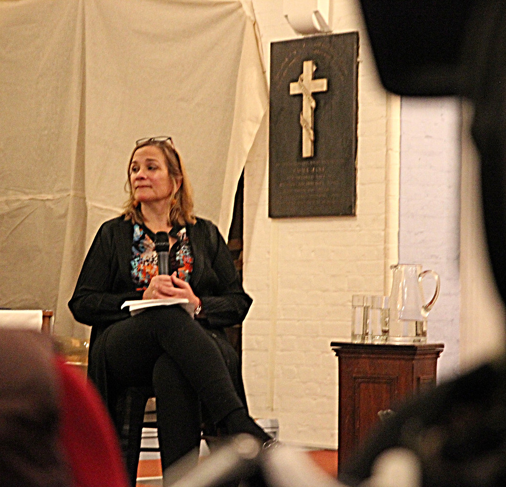 Tracy Chevalier hosting a panel discussion