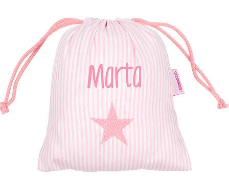 Bolsa de merienda rayas rosa