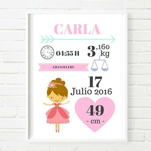 Lámina nacimiento Princesa ¡personalízala!