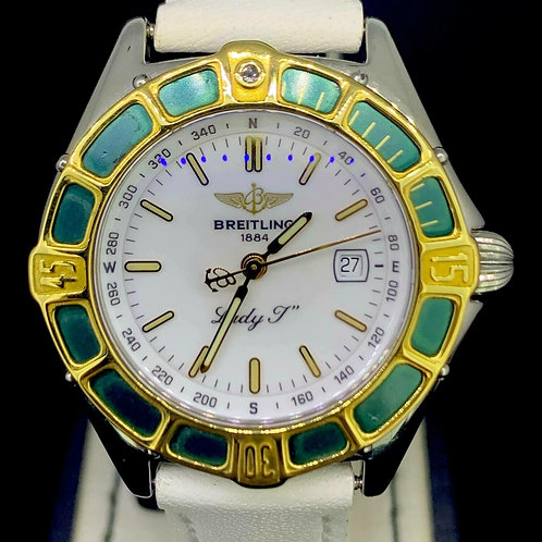 Breitling Lady J, Yellow Gold/Steel, 31MM White Dial Quartz Date, MINT