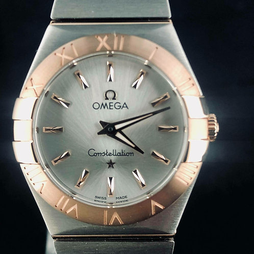 Omega Constellation Quartz, Rose Gold/Steel, Silver 27MM