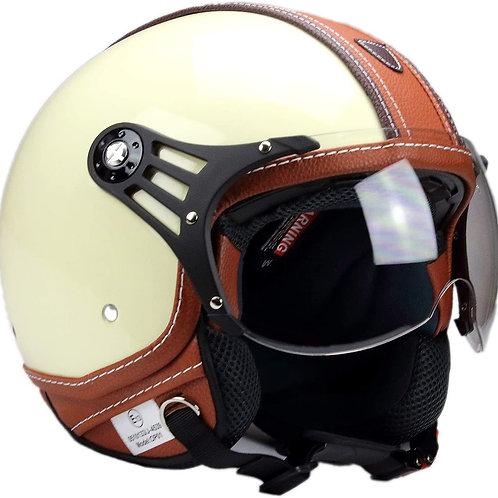 BNO-PL28 JetHelm Beige glänzend + Braun, Scooter Helm XL