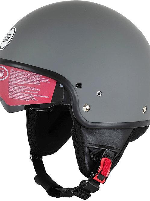 BHR Helm 802 Demi-Typ mit Visier, Mattgrau, L (58 cm)
