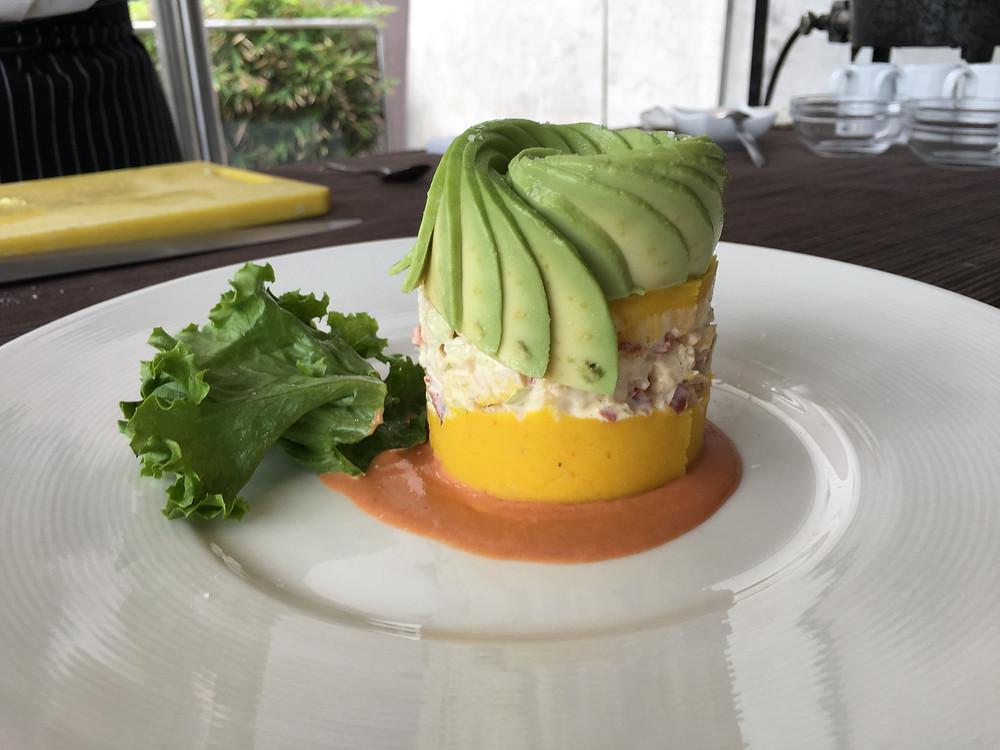 Causa, prato no restaurante do Museu do Larco em Lima, Peru