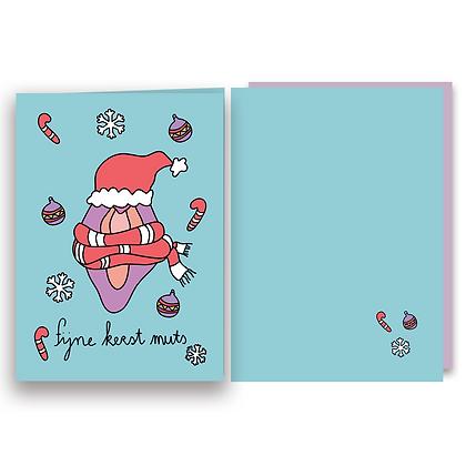 Fijne Kerst Muts - Dubbele A6 kaart + Envelop