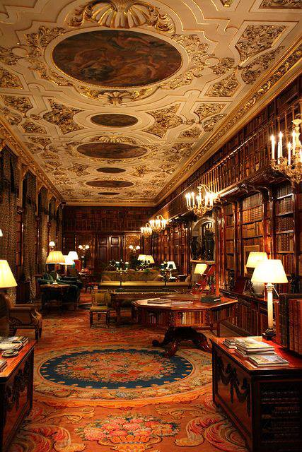 Library at Chatsworth House, Derbyshire, England