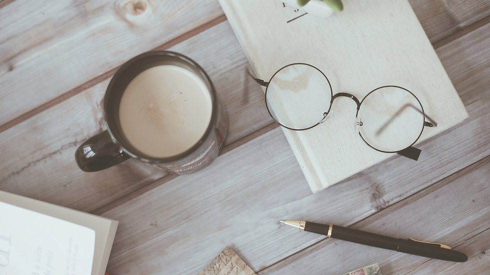 coffee and glasses on desk