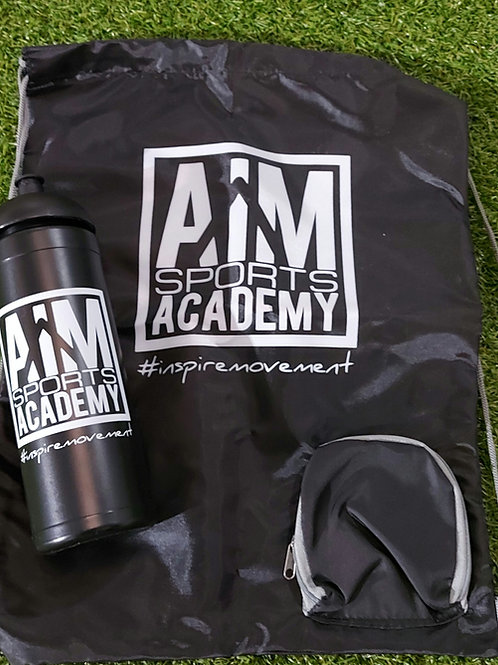 AiM Draw string bag and sports bottle