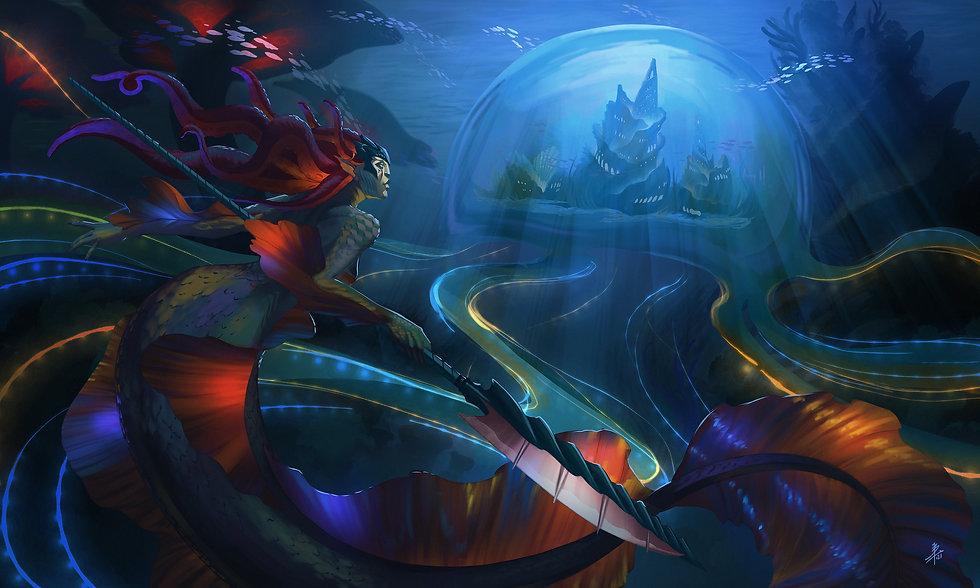 Vaxia alongside an underwater city in Gaimde