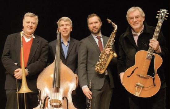 The Classic Jazz Quartet. From left: Jens Lindgren, Göran Lind, Klas Lindquist, Holger Gross. Foto: Claes Tillander.