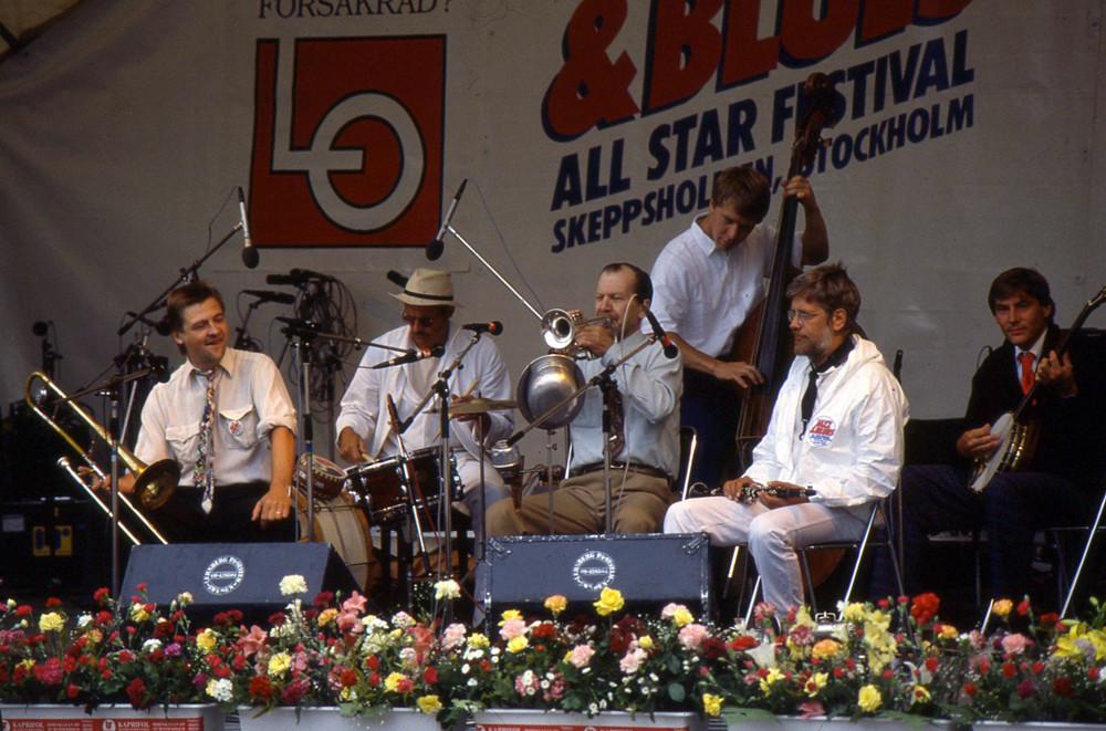 Stockholm Classic Jazz Band med gäst Ken Colyer på Stockholm Jazz & Blues Festival. Foto: Bengt Jansson.