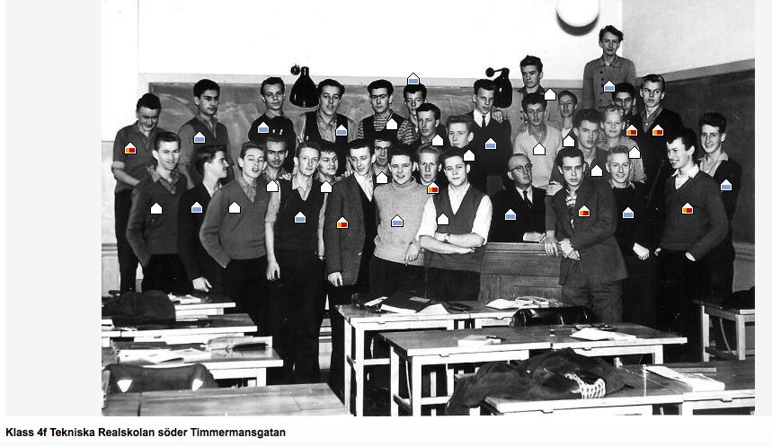 Klassfoto från Tekniska Real 1959. Holger delvis skymd näst längst upp till höger.