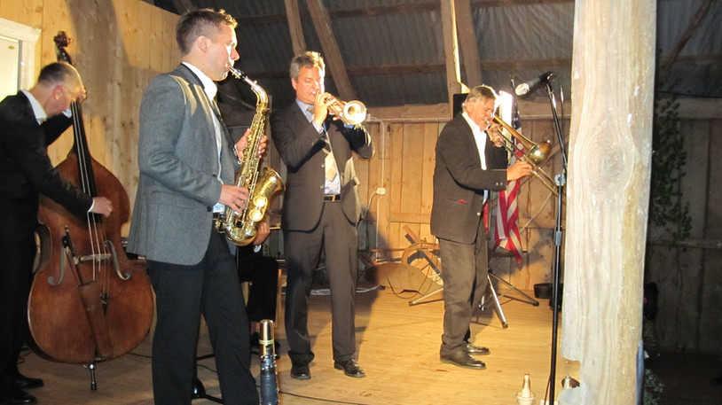 Duke Heitger med The Classic Jazz Quartet i Ladan i Hamneda, Småland.