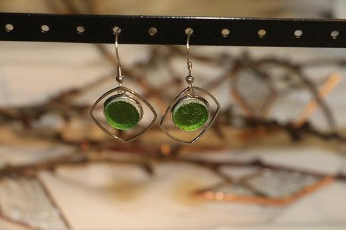 Boucles d'oreilles vertes claires