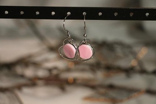 Boucles d'oreilles rose et coeur
