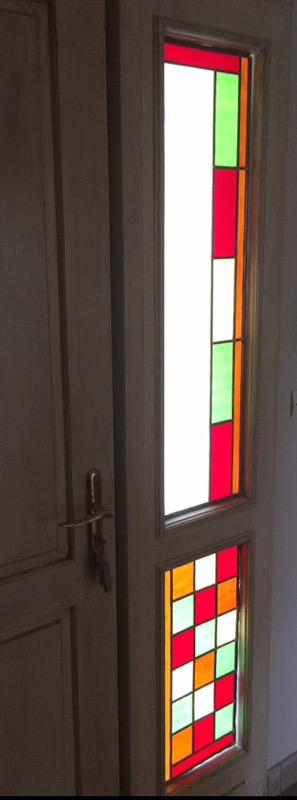 Vitrail géométrique porte d'entrée