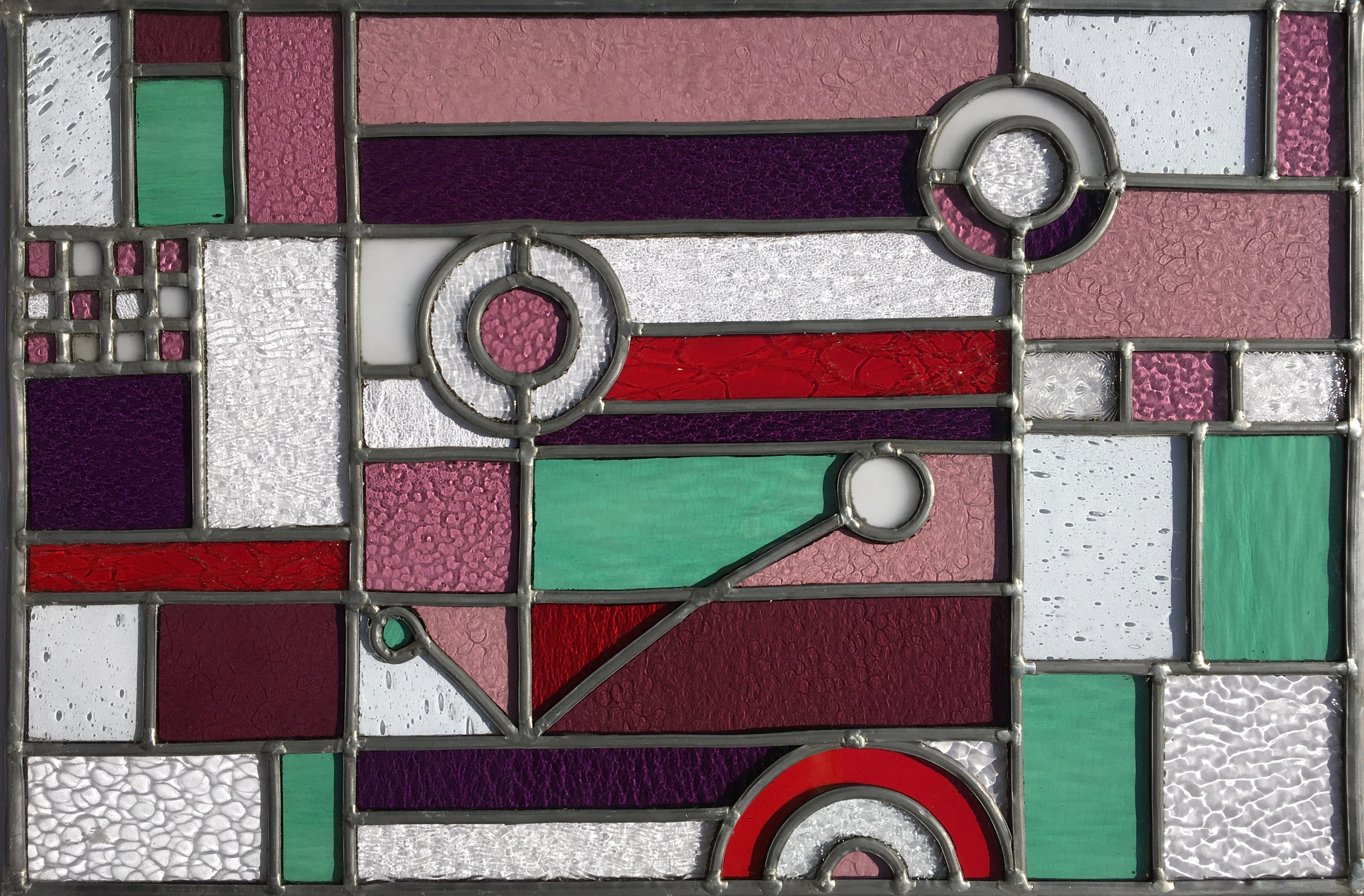 Vitrail Art déco - couleurs chaudes