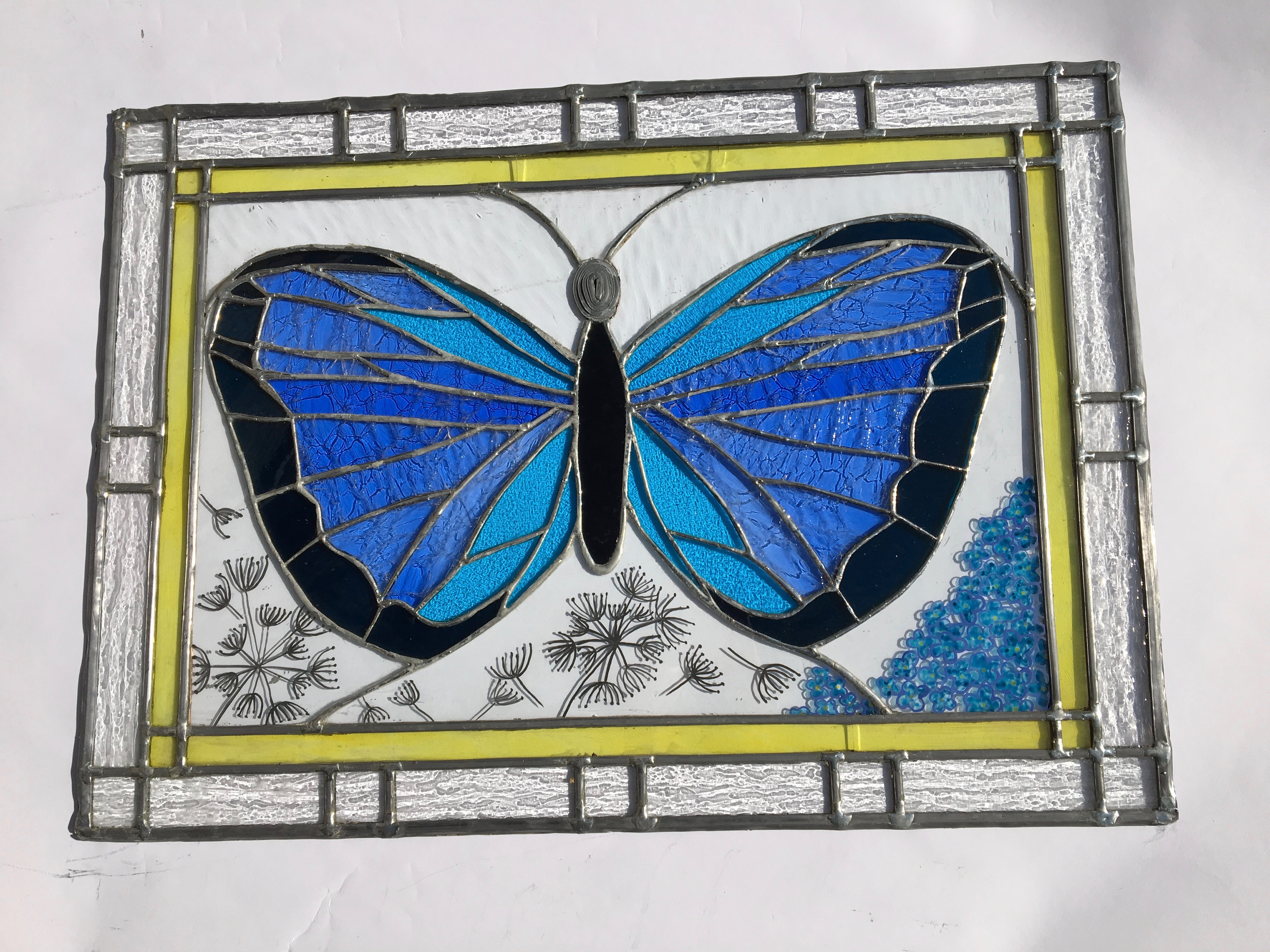 Vitrail Papillon bleu