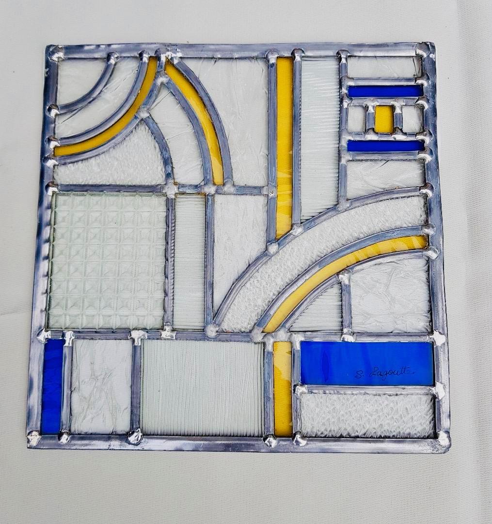 Vitrail Art déco - jaune et bleu