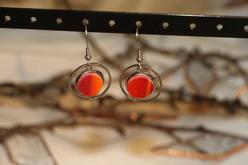 Boucles d'oreilles orange et rouge fantaisies