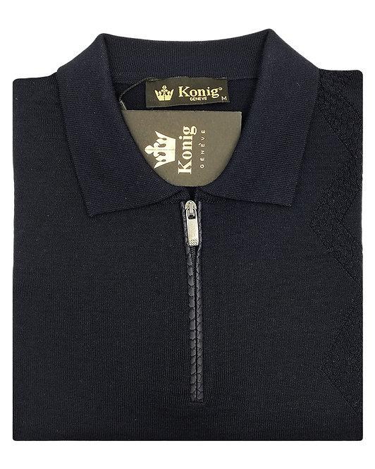 Konig - Wool Sweater Zipped Navy