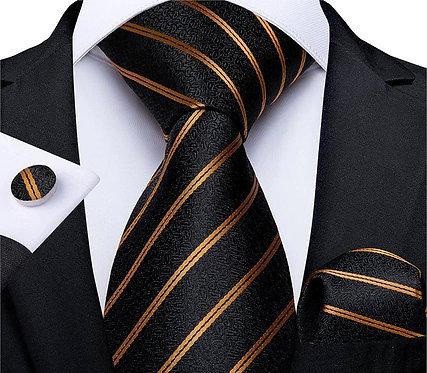 Konig Genève - Ensemble Cravate - Tie Set - Golden Stripes