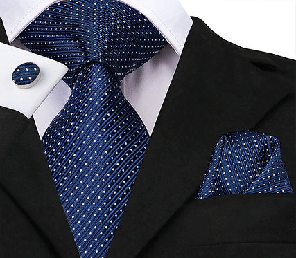 Konig Genève - Ensemble Cravate - Tie Set - Blue & White