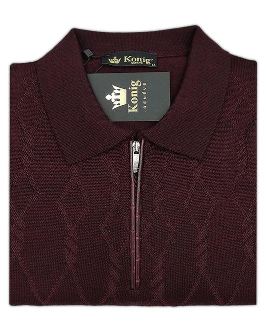 Konig - Wool Sweater Zipped Bordeaux