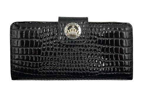 Konig - Women Wallet Black Croco - Portefeuille en Cuir pour Femme