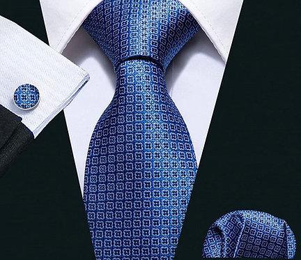 Konig Tie Set - Blue Squares