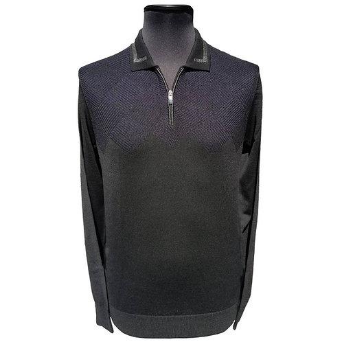 Konig - Wool Polo Sweater Zipped Blue & Black - Polo en Laine