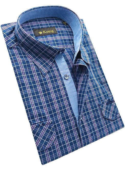 Konig Genève -  Blue Checkers - Chemise Hommes Cotton Shirt