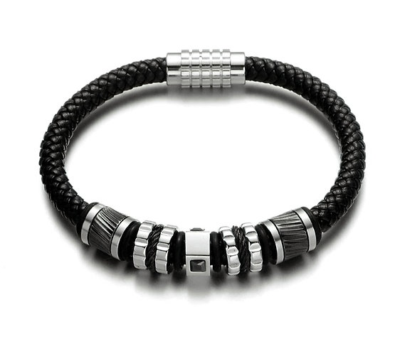 Konig - Bracelet Cuir et Acier - Leather & Steel Black