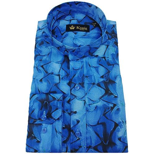 Konig - Cotton Shirt Col Mandarin Blue Abstract