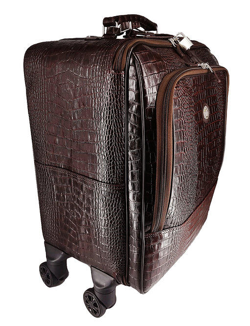 Konig Genève - Leather Trolley Luggage Bag - Aligo Brown