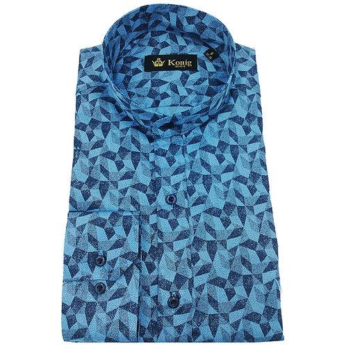 Konig - Cotton Shirt Col Mandarin Turquoise