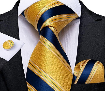 Konig Genève - Ensemble Cravate - Tie Set - Yellow & Blue