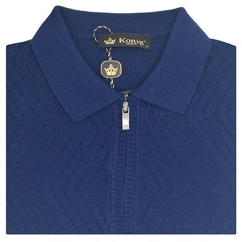 Konig - Wool Polo Sweater Zipped Electric Blue