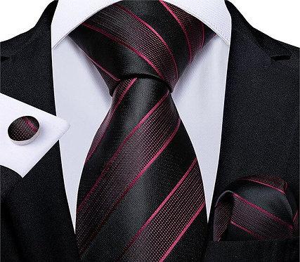 Konig Genève - Ensemble Cravate - Tie Set - Black & Red