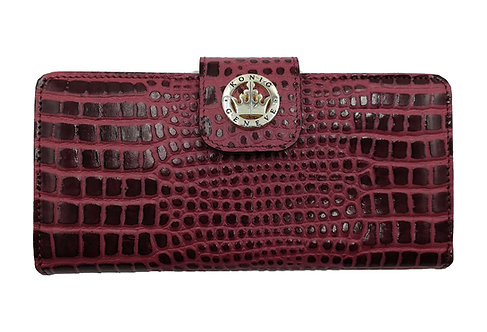Konig - Women Wallet Burgundy Croco - Portefeuille en Cuir pour Femme