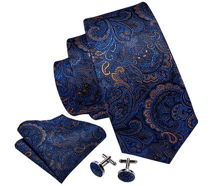 Konig Tie Set - Gold & Blue Abstract