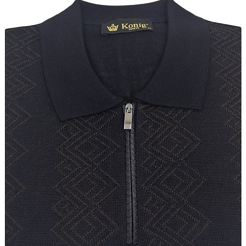 Konig - Wool Polo Sweater Zipped Blue & Brown