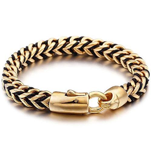 Konig - Gold Steel & Leather Mix Bracelet